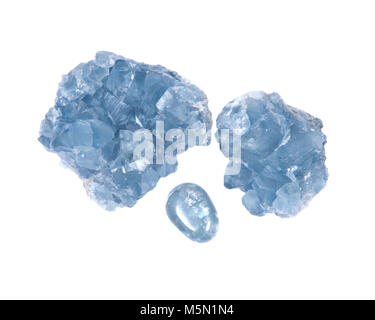 Blue celestite cluster and polished celestite palm stone isolated on white background - Stock Photo