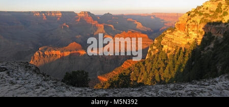 Grand Canyon Sunset Near Yaki Point Summer SR  . Yaki Point and the S. Kaibab Trail Parking Lot  are CLOSED to private - Stock Photo