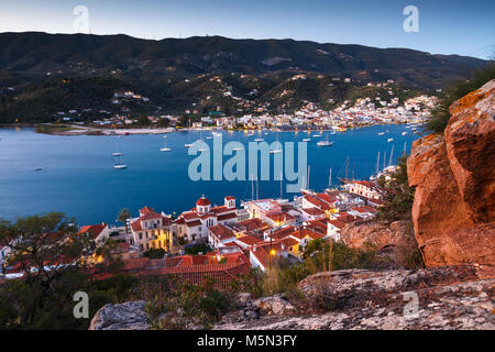 View of Poros island and Galatas village in Peloponnese, Greece. - Stock Photo