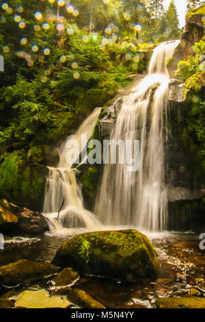 the highest waterfall of Germany at Triberg, in the black forest , baden wuttemberg - Stock Photo