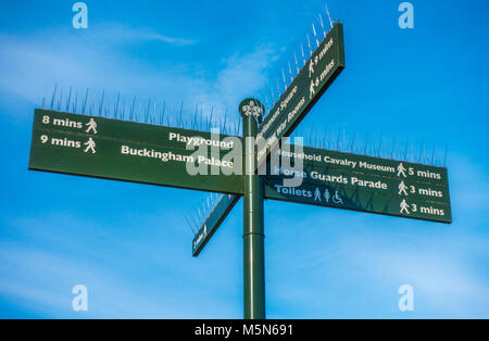Green signpost against a blue sky, in St James's Park, showing local places and the time it takes to walk there. - Stock Photo