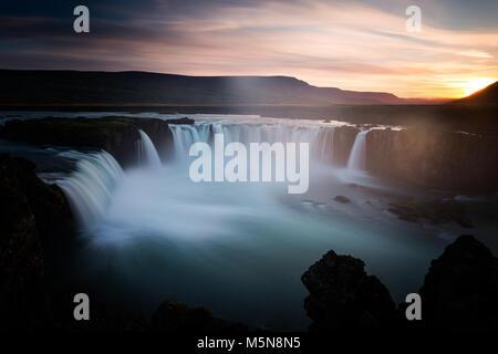 Godafoss waterfall and landscape, Iceland, Europe - Stock Photo