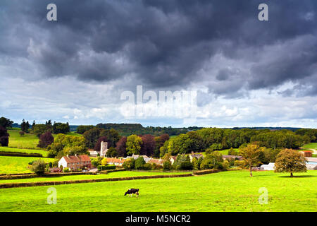 A summer view of the picturesque village of Whitestaunton  in rural Somerset, England. - Stock Photo