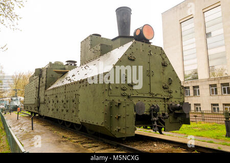 Armoured WWII Russian locomotive class Ov 5067 front right view - Stock Photo