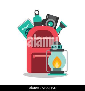 collection vacation travel backpack camera water passport and lantern - Stock Photo