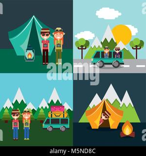 couple in vacations camping mountains tent car van set - Stock Photo