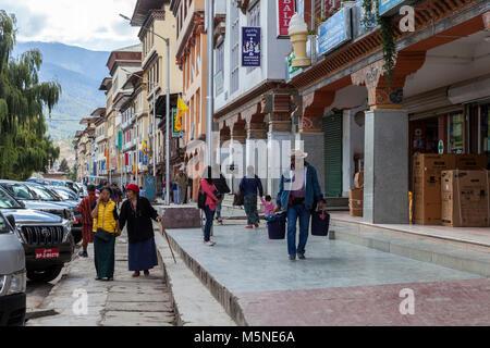 Thimphu, Bhutan.  Street Scene. - Stock Photo