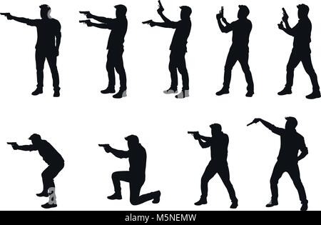 man with gun silhhouette in set - Stock Photo