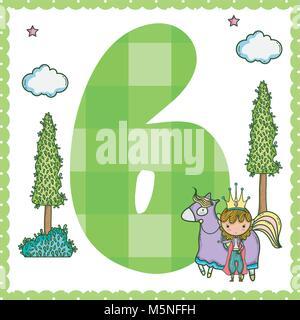 Six number magic world cartoon vector illustration graphic design - Stock Photo