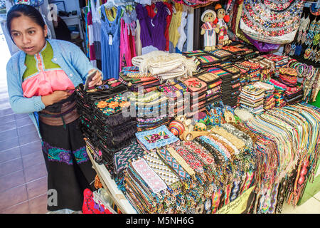 Cancun Mexico Yucatán Peninsula Quintana Roo Beach Hotel Zone Avenida Kukulkan Hispanic woman sales clerk gift shop - Stock Photo