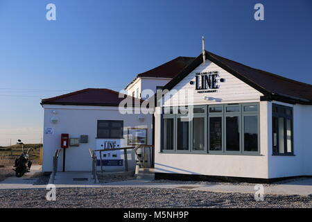 End of the Line restaurant at Romney Hythe and Dymchurch Railway station, Dungeness, Kent, England, Great Britain, - Stock Photo
