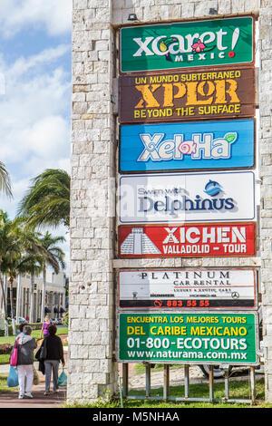 Cancun Mexico Yucatán Peninsula Quintana Roo Beach Hotel Zone Avenida Kukulkan sign business local attractions ecotour - Stock Photo