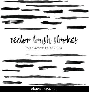 Brush strokes hand drawn, hand made creative brush strokes, black brush. Brush paint strokes collection. Thing long - Stock Photo
