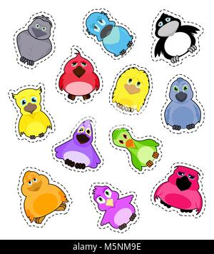Set of stickers cute colorful cartoon birds isolated on white background. Vector big set of illustrations.