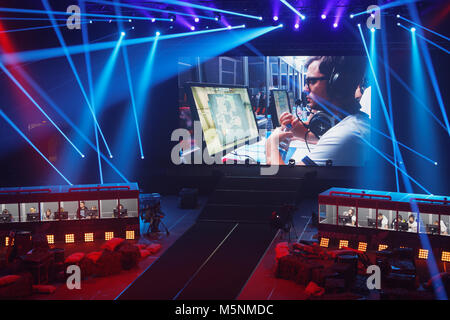 St. Petersburg, Russia - February 23, 2018: Teams of gamers during St. Petersburg Cyber-Sport Festival. Main event - Stock Photo