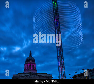 The Star Flyer Ride in the Market Square, Nottingham Nottinghamshire England UK - Stock Photo