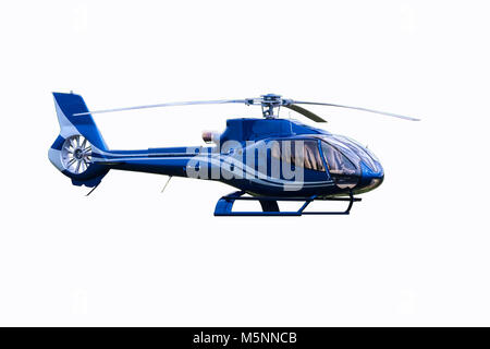 Blue tourist helicopter isolated on the white background - Stock Photo