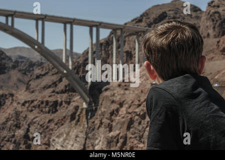 Looking out at the Hoover suspension bridge that goes over the Hoover Dam in Nevada, USA - Stock Photo