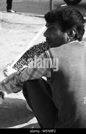 A middle aged man trying to sell berry's on road side, Chandigarh, India. - Stock Photo