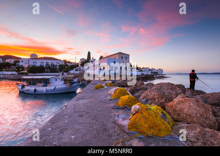 Traditional fishing boats in the harbour of Spetses, Greece. - Stock Photo
