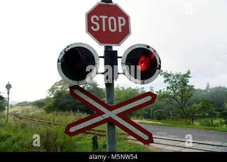 A glowing red traffic light in a cluster of warning signs at an unguarded railway crossing in the Valley of Thousand - Stock Photo