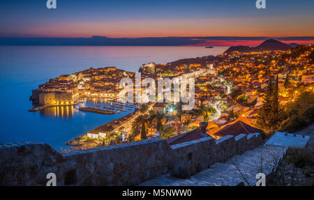 Panoramic aerial view of the historic town of Dubrovnik, one of the most famous tourist destinations in the Mediterranean - Stock Photo