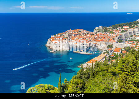 Historic town of Dubrovnik, one of the most famous tourist destinations in the Mediterranean Sea, from Srd mountain - Stock Photo