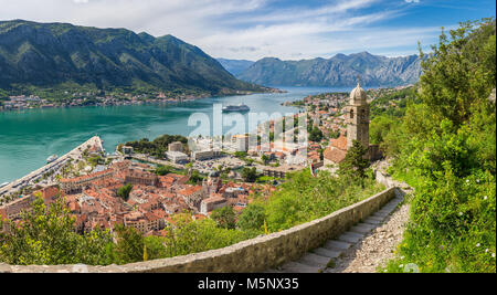 Panorama view of the old town of Kotor at famous Bay of Kotor on a sunny day in summer, Montenegro, Balkans, southern - Stock Photo