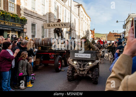 Trail Layers At The Southdown and Eridge Hunt's Traditional Boxing Day Meeting, High Street, Lewes, Sussex, UK - Stock Photo