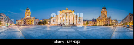 Gendarmenmarkt square panorama with historic Berlin Concert Hall and German and French Churches in twilight at dusk, - Stock Photo