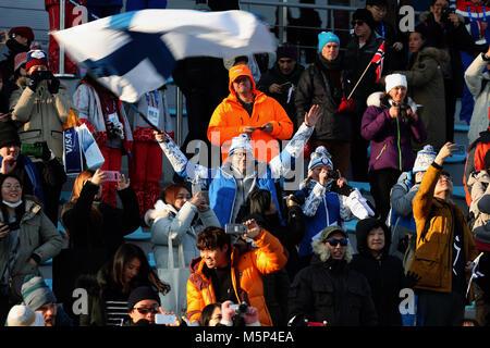 PyeongChang, South Korea. 18th Feb, 2018. Finland fans at Cross-Country Skiing: Ladies' 30km Mass Start Classic - Stock Photo