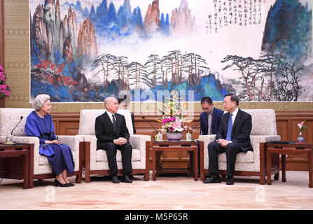 Beijing, China. 25th Feb, 2018. Chinese State Councilor Yang Jiechi (R) meets with Cambodian King Norodom Sihamoni - Stock Photo