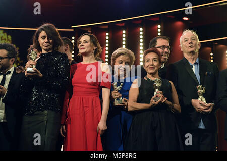Berlin, Germany. 24th Feb, 2018. Winners during the award ceremony at the 68th Berlin International Film Festival/Berlinale - Stock Photo