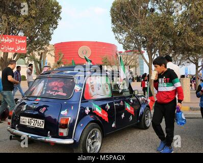 Kuwait City, Kuwait. 25th Feb, 2018. Visitors are seen at a vintage car show to celebrate the 57th National Day - Stock Photo