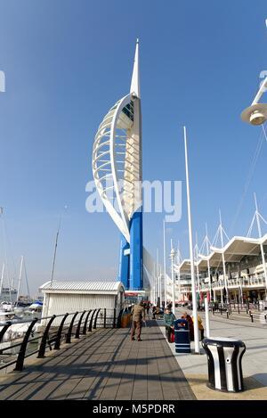 Gunwharf quay and Emirates Spinnaker Tower  Portsmouth Hampshire England UK - Stock Photo