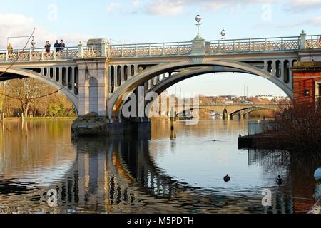 Richmond weir and footbridge over the River Thames at Richmond Greater London England UK - Stock Photo