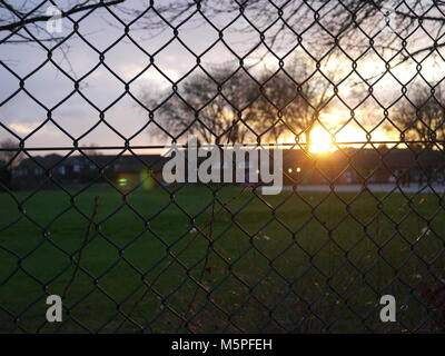 Sunset over playing field, twilight scene with playground grass and winter cloud with overhanging tree silhouetted - Stock Photo