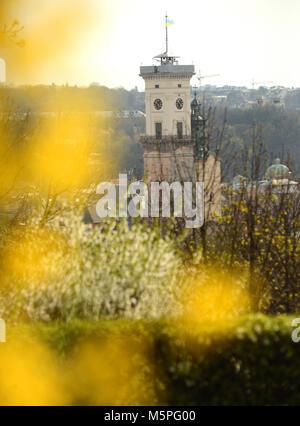 Lviv City Hall tower. Spring in Lviv, Ukraine - Stock Photo