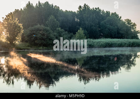 Beautiful tree reflections on lakes surface. - Stock Photo