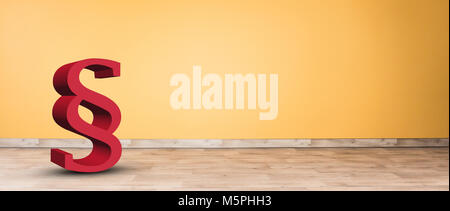 3d paragraph symbol in an empty room - Stock Photo