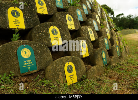 Plaques with runners names that finished the Comrades Marathon on the wall of honour in the Valley of 1000 Hills - Stock Photo