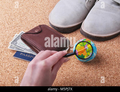 Set of men's accessories for the tourist on a white wooden background. The concept of fashion, leisure and travel. - Stock Photo