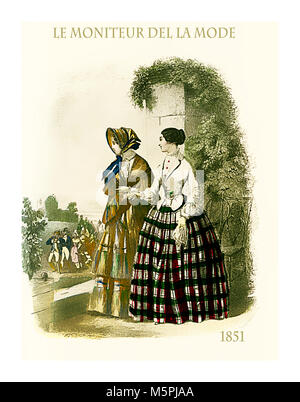 1851 vintage fashion, French magazine Le Moniteur de la Mode presents two ladies outdoor in a beautiful garden with - Stock Photo