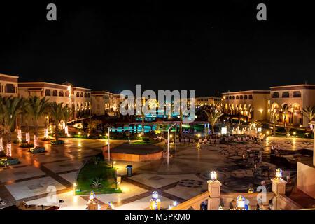 HURGHADA, EGYPT- FEBRUARY 22, 2010: Night view of luxury resort in Egypt - Stock Photo