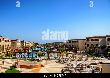 HURGHADA, EGYPT- FEBRUARY 22, 2010: View of luxury resort in Egypt - Stock Photo