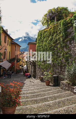 View of alley in hillside, buildings and wall with bindweed in Bellagio, a charming tourist village between the - Stock Photo