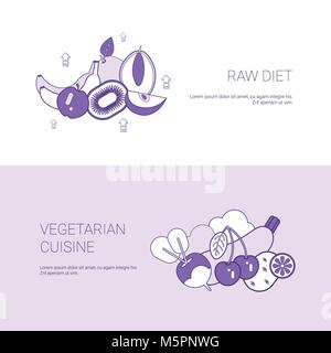 Raw Diet And Vegetarian Cuisine Concept Template Web Banner With Copy Space - Stock Photo