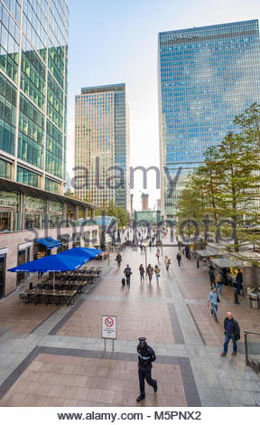 Six Public Clocks by Konstantin Grcic in Reuters Plaza, Canary Wharf, Tower Hamlets, London, England, United Kingdom - Stock Photo
