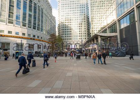 Six Public Clocks by Konstantin Grcic in Reuters Plaza, Canary Wharf, Tower Hamlets, London, England, United Kingdom - Stock Photo