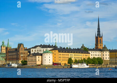 View of Gamla Stan (on the right the belfry of Riddarholmen Church), Stockholm, Sweden - Stock Photo